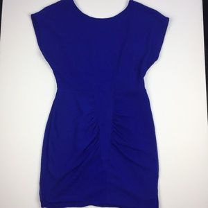 Silence and Noise Blue Ruched Low Back Dress
